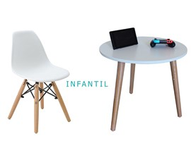 Conjunto de Mesa Infantil com 1 Cadeira Infantil Branca Casa Aberta Brasil