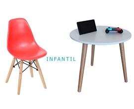 Conjunto de Mesa Infantil com 1 Cadeira Infantil Vermelha Casa Aberta Brasil