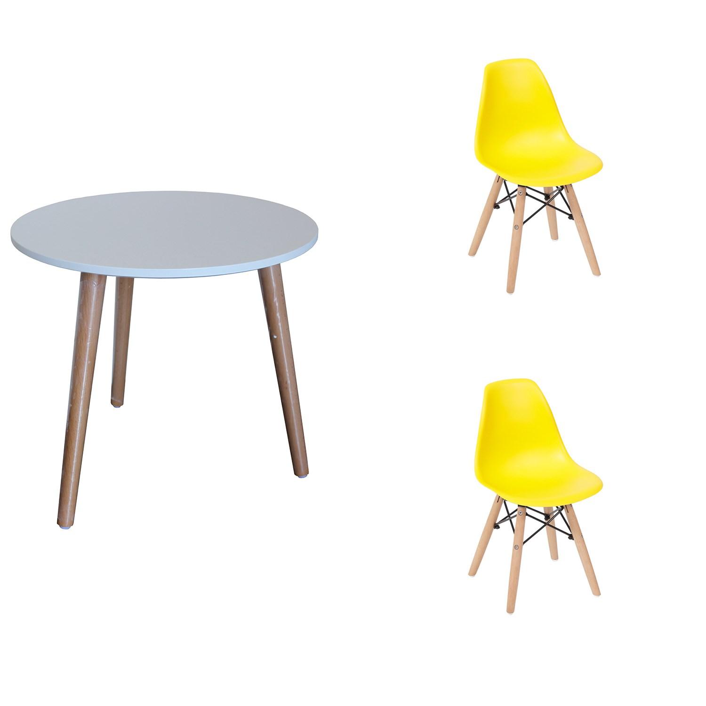 Conjunto de Mesa Infantil com 2 Cadeiras Eiffel Infantil Amarela Casa Aberta Brasil