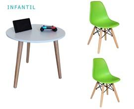 Conjunto de Mesa Infantil com 2 Cadeiras Eiffel Verde Limão Casa Aberta Brasil