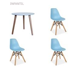 Conjunto de Mesa Infantil com 3 Cadeiras Eiffel Azul Casa Aberta Brasil