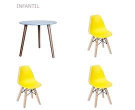 Conjunto de Mesa Infantil com 3 Cadeiras Eiffel Infantil Amarela Casa Aberta Brasil