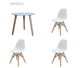 Conjunto de Mesa Infantil com 3 Cadeiras Eiffel Infantil Branca Casa Aberta Brasil