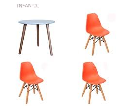 Conjunto de Mesa Infantil com 3 Cadeiras Eiffel Laranja Casa Aberta Brasil