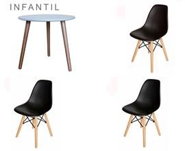Conjunto de Mesa Infantil com 3 Cadeiras Eiffel Preta Casa Aberta Brasil