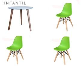 Conjunto de Mesa Infantil com 3 Cadeiras Eiffel Verde Limão Casa Aberta Brasil