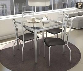 Conjunto de Mesa Reno Cromada com 4 Cadeiras Estofadas Portugal Preto Kappesberg