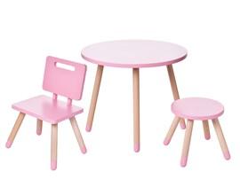 Conjunto Infantil com Mesa Redonda, Cadeira e Banquinho Cor Rosa Amoudi Móveis
