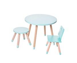 Conjunto Infantil com Mesa Redonda, Cadeira e Banquinho Cor Verde Água Amoudi Móveis