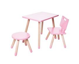 Conjunto Infantil com Mesa Retangular, Cadeira e Banquinho Amoudi Móveis