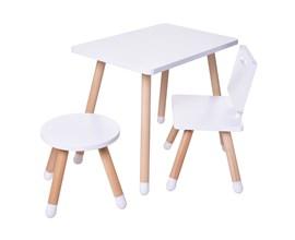 Conjunto Infantil com Mesa Retangular, Cadeira e Banquinho Cor Branco Amoudi Móveis