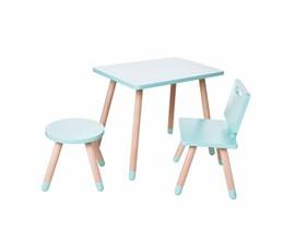 Conjunto Infantil com Mesa Retangular, Cadeira e Banquinho Cor Verde Água Amoudi Móveis