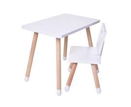 Conjunto Infantil com Mesa Retangular e Cadeira Cor Branco Amoudi Móveis