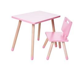 Conjunto Infantil com Mesa Retangular e Cadeira Cor Rosa