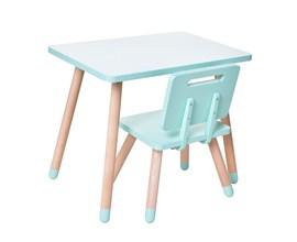 Conjunto Infantil com Mesa Retangular e Cadeira Cor Verde Água