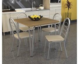 Conjunto Mesa Amur com 4 Cadeiras Holanda Nude Kappesberg