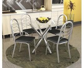 Conjunto Mesa com 4 cadeiras Holanda Preto Kappesberg