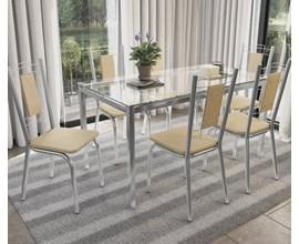 Conjunto Mesa com 6 Cadeiras Florença Nude Kappesberg