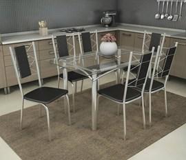 Conjunto Mesa com 6 cadeiras Lisboa Preto Kappesberg