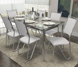 Conjunto Mesa com 6 Cadeiras Londres Branco Kappesberg
