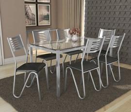 Conjunto Mesa com 6 Cadeiras Nápoles Preto Kappesberg