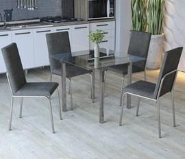 Conjunto Mesa e 4 Cadeiras Amsterdã Preto Lin/Cz Kappesberg