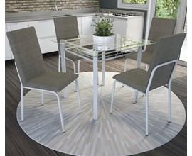 Conjunto Mesa e 4 Cadeiras Amsterdã Veludo Oliva Kappesberg