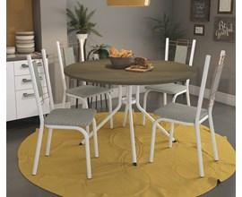 Conjunto Mesa e 4 Cadeiras Florença Linho Marrom Kappesberg