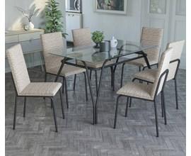 Conjunto Mesa e 6 Cadeiras Amsterdã Linho Marrom Kappesberg
