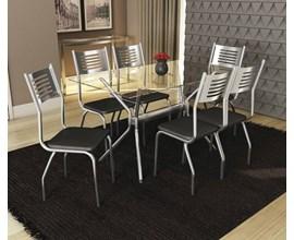 Conjunto Mesa Loire Cromada com 6 Cadeiras Munique Assento Preto Kappesberg
