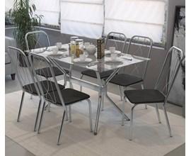 Conjunto Mesa Loire Cromada com 6 Cadeiras Viena Cromada com Assento Preto Kappesberg