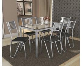 Conjunto Mesa Reno Cromada com 6 Cadeiras Nápoles Assento Preto Kappesberg