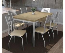 Conjunto Mesa Shire com 6 Cadeiras Munique Nude Kappesberg