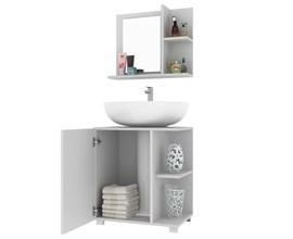 Conjunto para Banheiro com Armário e Balcão BBN 17 Branco BRV Móveis