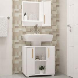 Conjunto para Banheiro com Balcão e Armário Branco BRV Móveis