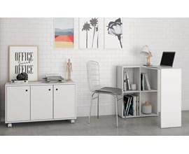 Conjunto Para Escritório 2 Peças com Escrivaninha Cube e Armário Baixo Bko 25 Branco Brv Móveis