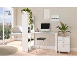Conjunto Para Escritório 2 Peças com Escrivaninha Estante e Gaveteiro Bko 43 Branco Brv Móveis
