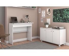Conjunto Para Escritório 2 Peças com Mesa e Armário Baixo Bko 11 Branco Brv Móveis