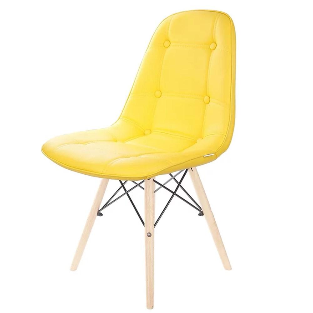 Conjunto Para Escritório 2 Peças com Mesa Office Branca e Cadeira Botonê Amarela