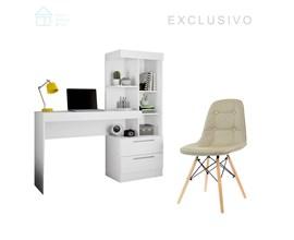 Conjunto Para Escritório 2 Peças com Mesa Office Branca e Cadeira Botonê Bege