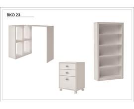 Conjunto Para Escritório 3 Peças com Estante, Gaveteiro e Mesa Cube Bko 23 Branco Brv Móveis