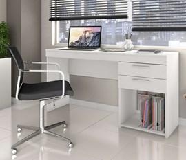 Conjunto para Escritório com 2 Mesas Office Branca e 1 Armário Uruguai Branco