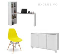 Conjunto Para Escritório com Armário Baixo e Escrivaninha Branca e Cadeira Eames Eiffel Amarela