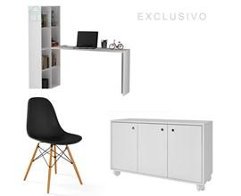 Conjunto Para Escritório com Armário Baixo e Escrivaninha Branca e Cadeira Eames Eiffel Preto