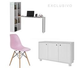 Conjunto Para Escritório com Armário Baixo e Escrivaninha Branca e Cadeira Eames Eiffel Rosa