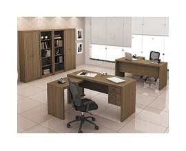 Conjunto para Escritório com Armário, Estante e Mesa com gavetas Amêndoa Tecno Mobili