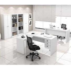 Conjunto para Escritório com Armário, Estante e Mesa com gavetas Branco Tecno Mobili