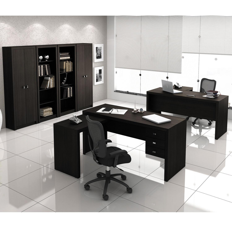 Conjunto para Escritório com Armário, Estante e Mesa com gavetas Tabaco Tecno Mobili