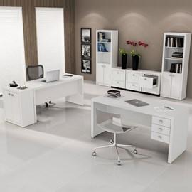 Conjunto para Escritório com Mesa, Armário e Gaveteiro Branco Tecno Mobili