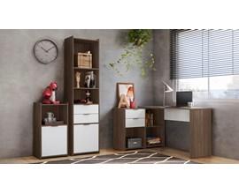 Conjunto para escritório com Mesa NT2060 e Armários NT2050 Cor Nogal com Branco Notável Móveis